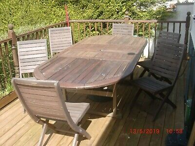 Wooden Garden Table and Chairs x 6