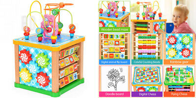 Victostar Wooden Activity Cube Toys with Drawing Board Bead