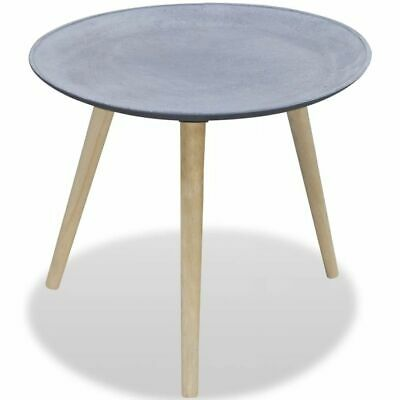 Grey Concrete Look Side Table Coffee Desk Round Display