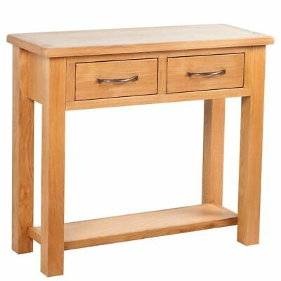 vidaXL Solid Oak Wood Console Table 2 Drawers with Handles