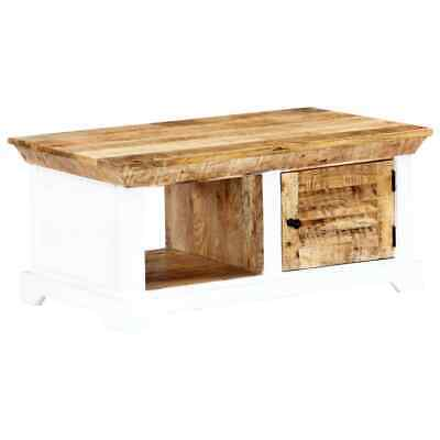 vidaXL Solid Rough Mango Wood Coffee Table White and Brown
