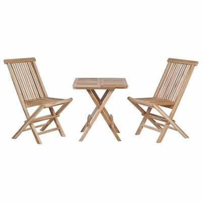 vidaXL Solid Teak Folding Bistro Set 3 Piece Outdoor