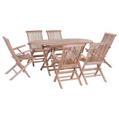 vidaXL Solid Teak Folding Dining Set 7 Piece Garden
