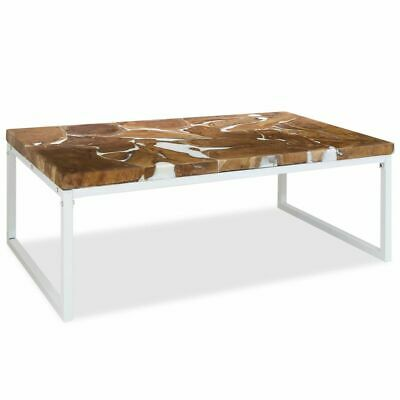 vidaXL Teak Resin Coffee Table 110x60x40cm White Living Room