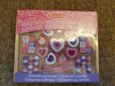 MELISSA & DOUG KIDS SHIMMERING HEARTS PINK WOODEN BEAD SET