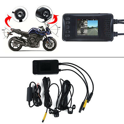 Dual Lens Motorcycle HD DVR Dash Cam Front W/Rear Video
