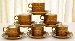 Vintage 's Hornsea Saffron 6 Cups with Saucers in