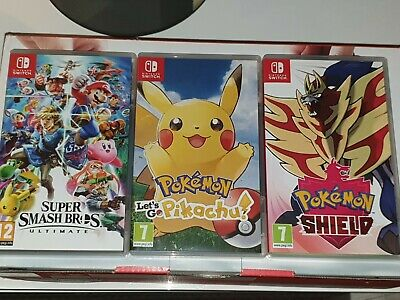 NINTENDO SWITCH CONSOLE NEON RED&BLUE WITH 3 GAMES POKEMON
