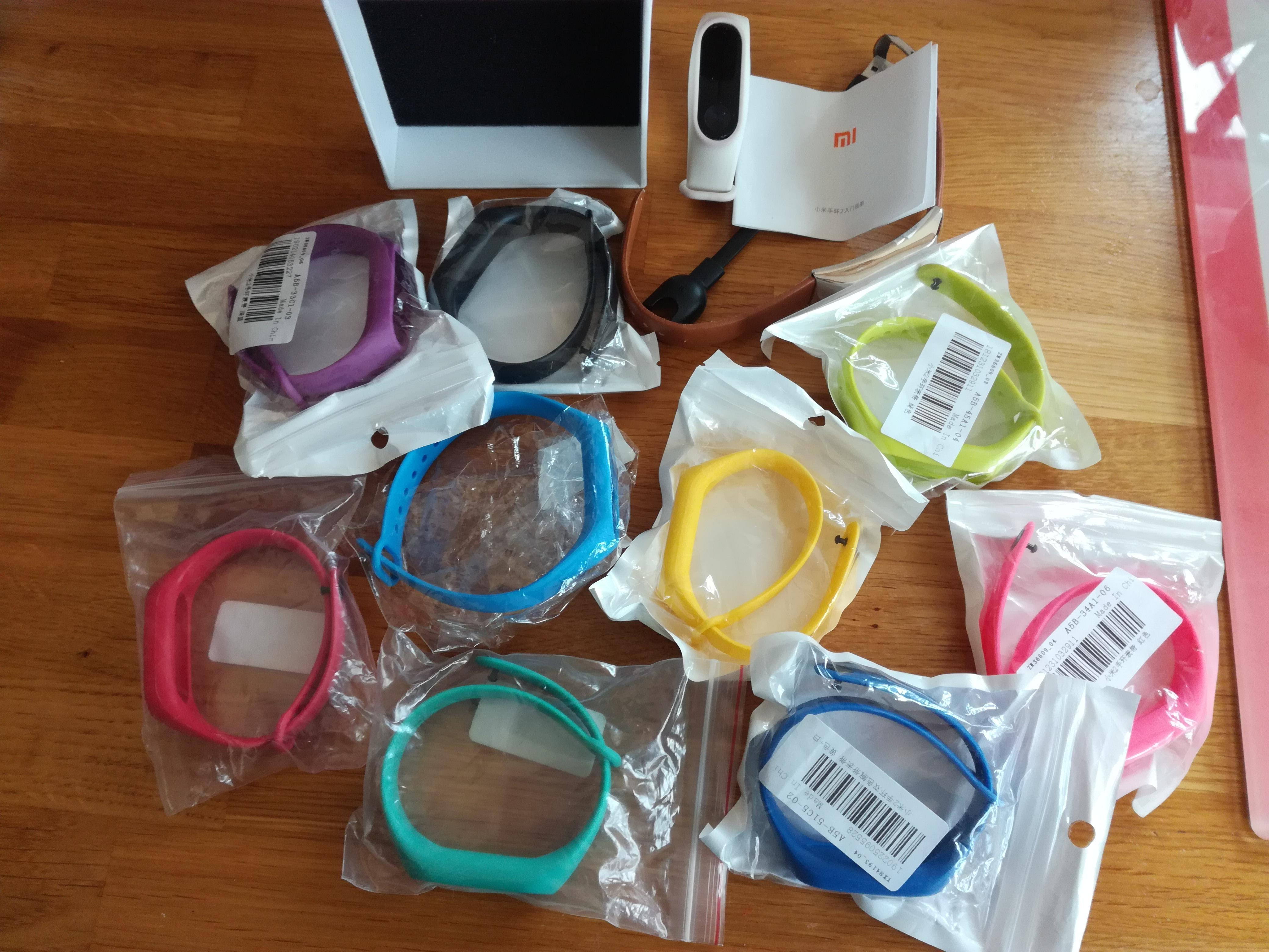 11 assorted straps for Xiaomi Mi fit band 2, plus working