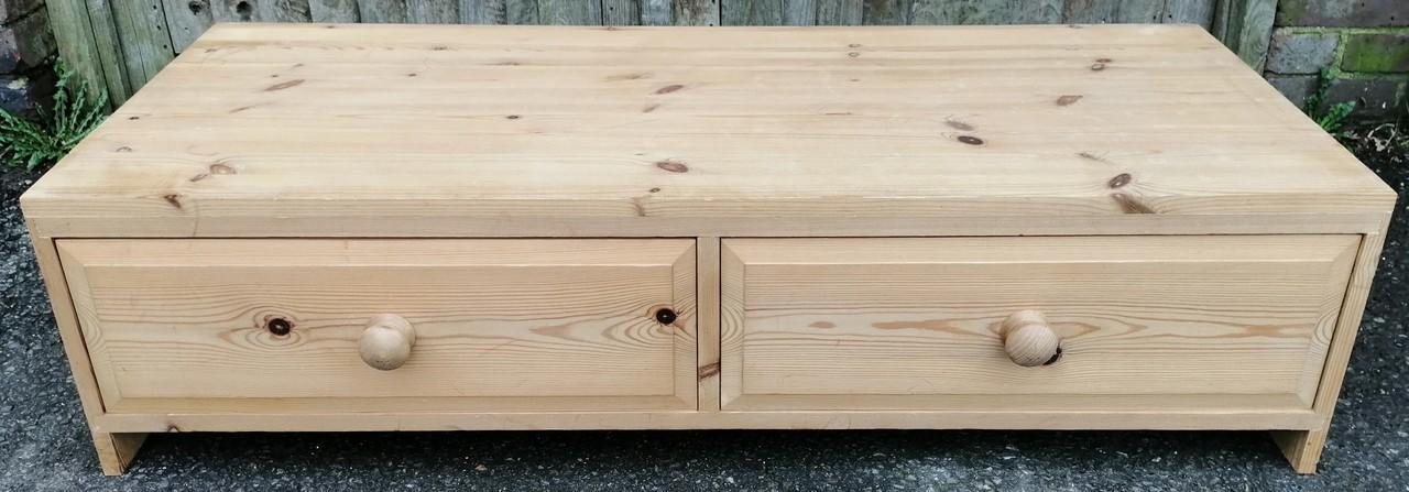 Solid Pine Two Drawer Coffee Table