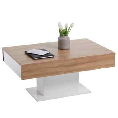FMD Coffee Table Antique Oak and White Home Decor Furniture