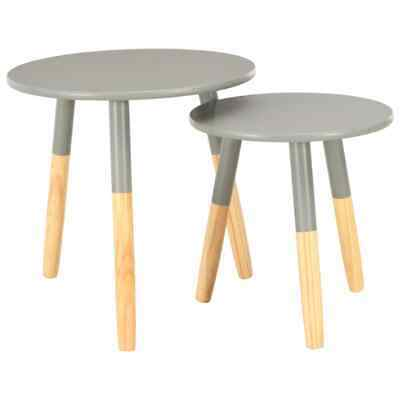 vidaXL 2x Solid Pine Wood Side Tables Round Grey Side Table