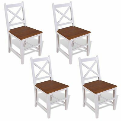 vidaXL 4x Solid Teak Mahogany Dining Chairs Indoor Kitchen