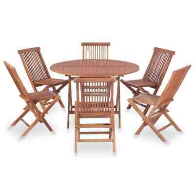 vidaXL Solid Teak Wood Folding Dining Set 7 Piece Patio