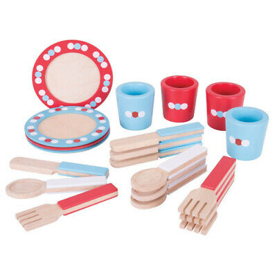 Bigjigs Toys Wooden Dinner Service Set - Pretend Play and