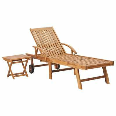 vidaXL Solid Teak Wood Sun Lounger with Table Outdoor Patio