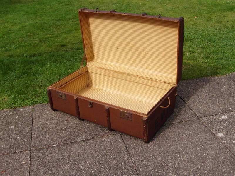 Vintage steamship trunk. £55. Curved top with bands.'s