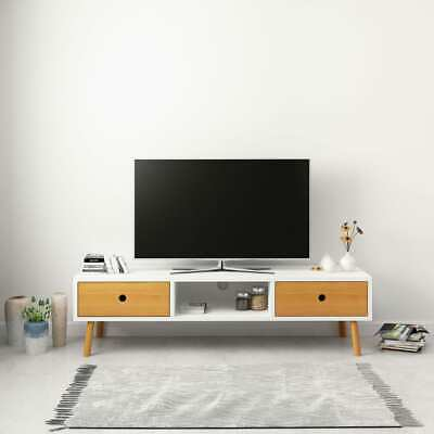 vidaXL Solid Pine Wood TV Cabinet with 2 Drawers White TV