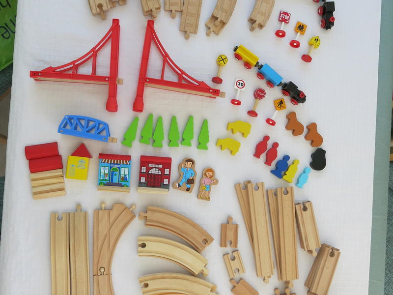 Large Bundle of Wooden Train Track with Magnetic Trains,