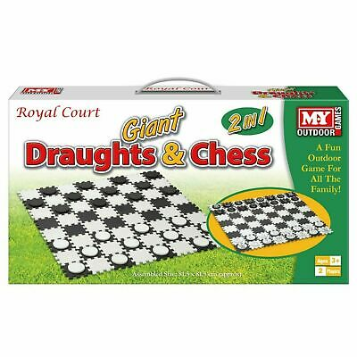 2 in 1 Giant Draughts and Chess Set Game - Fun Summer Family