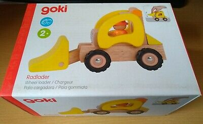 Goki  Wheel Loader Yellow Wooden Toy Rubber Tyres High