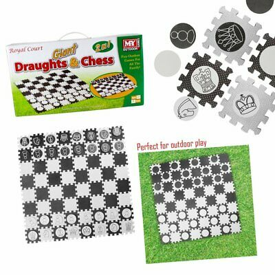 MY 2 in 1 Giant Draughts and Chess Set Game For The Garden