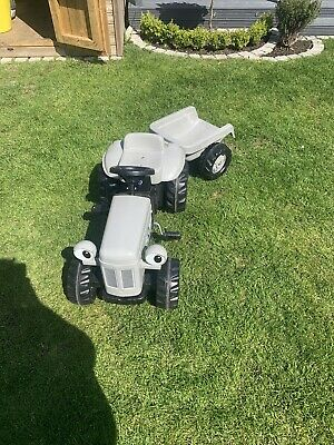 ROLLY KID TOYS RIDE ON PEDAL TRACTOR Grey Fergie & Trailer