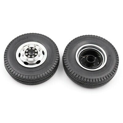 2X(Front Rubber Loader Wheels with Rims for Tamiya 1/14