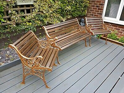Cast Iron Garden Bench Park Seat and two chairs