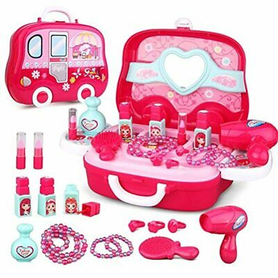 JEJA Role Play Jewelry Kit Toy Set 19PCS Princess Suitcase