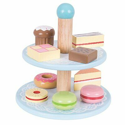 Bigjigs Toys Wooden Cake Stand with 9 Wooden Cakes - Pretend