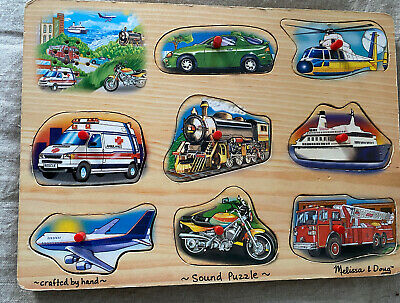 Melissa & Doug Transport 8 Pieces Wooden Sound Puzzle