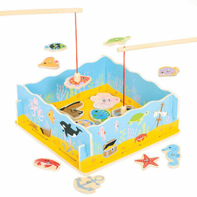 Bigjigs Toys Wooden Magnetic Fishing Game Play Set Family