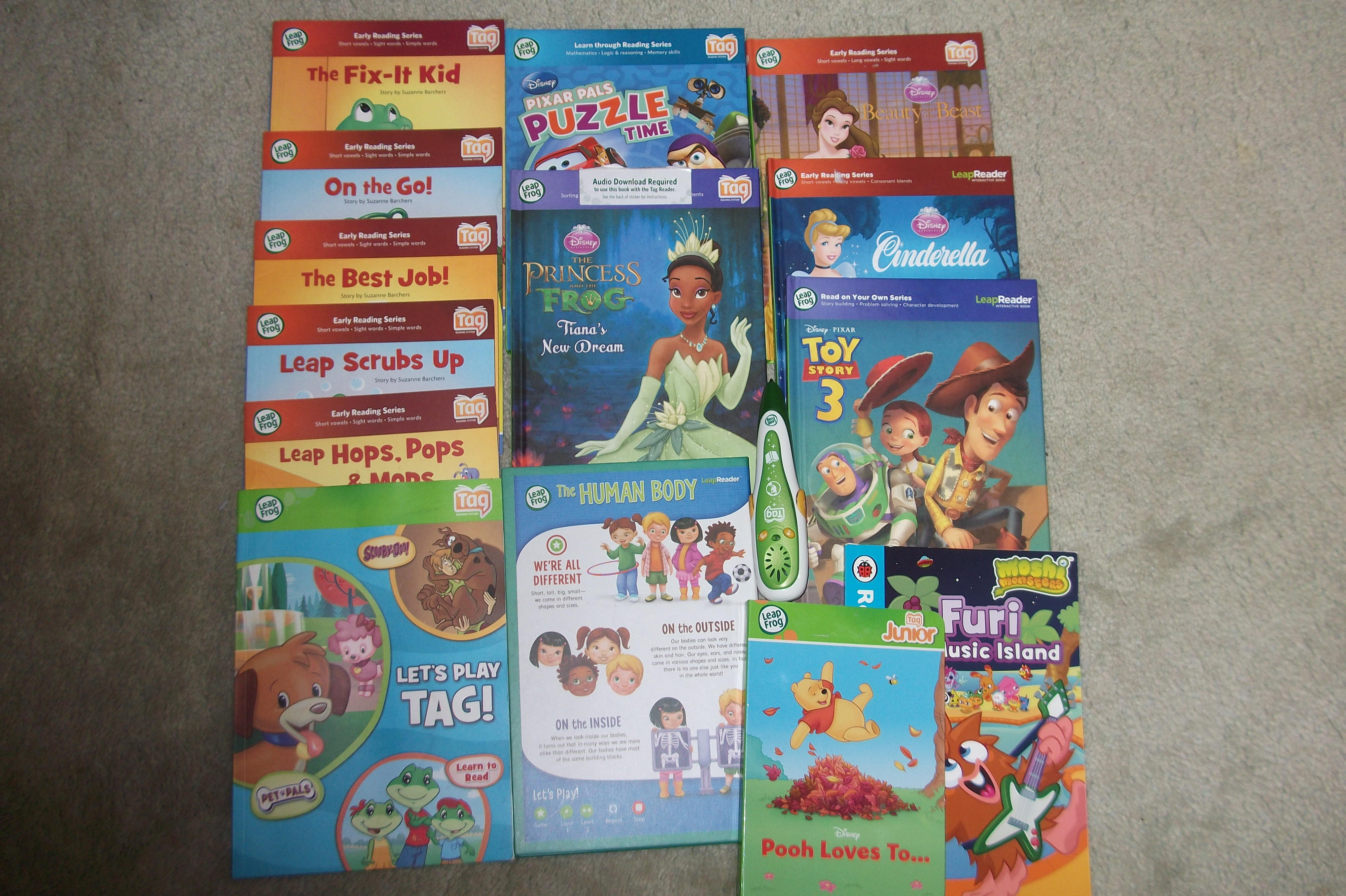 13 Leap Frog Tag Books and 1 Ladybird book