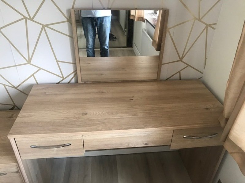 Dressing Table, Mirror, Stool and matching Chest of Drawers