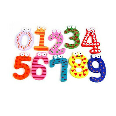 3X(Funky Fun Colorful Magnetic Numbers Wooden Fridge Magnets