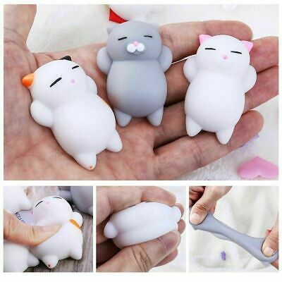 3x Novelty Cute Cat Shaped Squeeze Toys Stress Relief