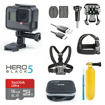 GoPro HERO5 Black Camera + Accessories Waterproof case 16G