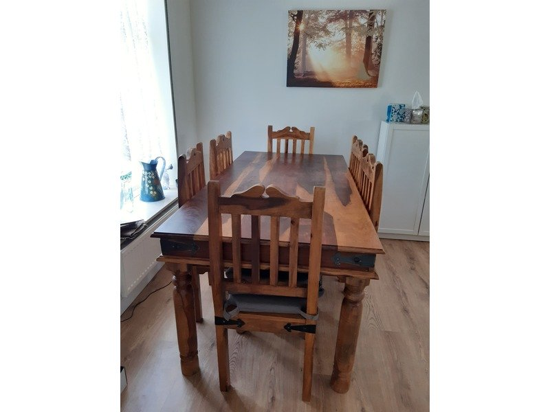 solid wood table, chest of draws, book case & mirror