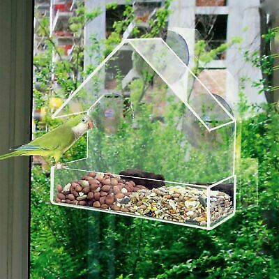2 x Glass Window Bird Feeder Seed Peanut Hanging Suction