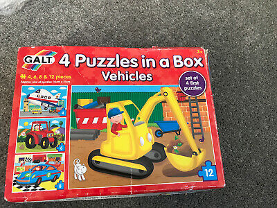 Galt Toys 4 Puzzles In A Box Jigsaw, 12 Pieces -