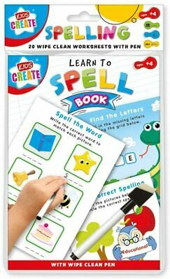 Kids Create A5 Learn to Spell Book 20 Wipe-Clean Learning