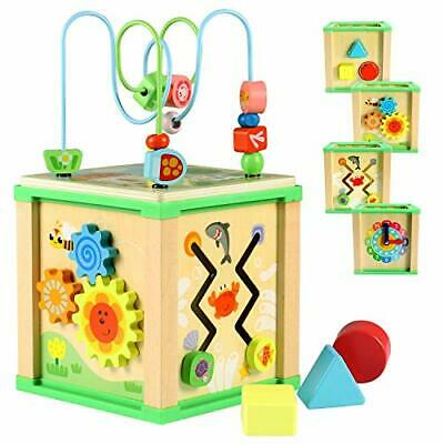 Lewo Activity Cube, Baby Educational Toy Wooden Bead Maze