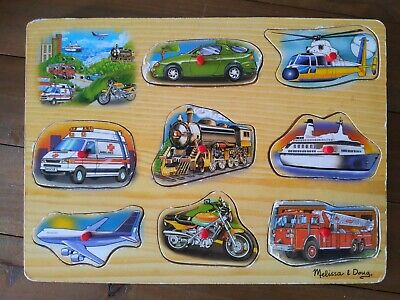 Melissa & Doug Vehicle Wooden Sound Puzzle (8 pieces),
