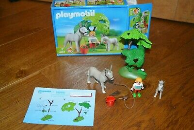 Playmobil donkey, foal, trees and figure set () with box