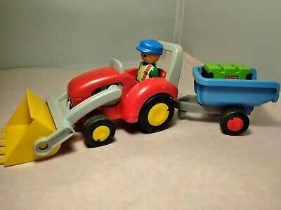 PLAYMOBIL 1 2 3 Tractor with Trailer USED Can Combine