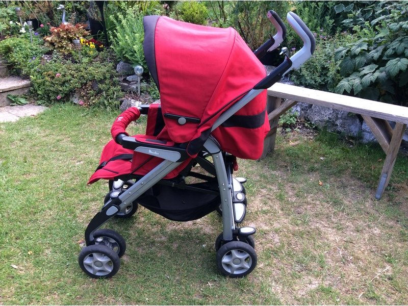 SILVER CROSS Red Buggy Pushchair, Good Condition, with Hood,