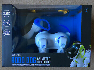 New Dexter The Robo Dog Blue Animated Pet With Lights &