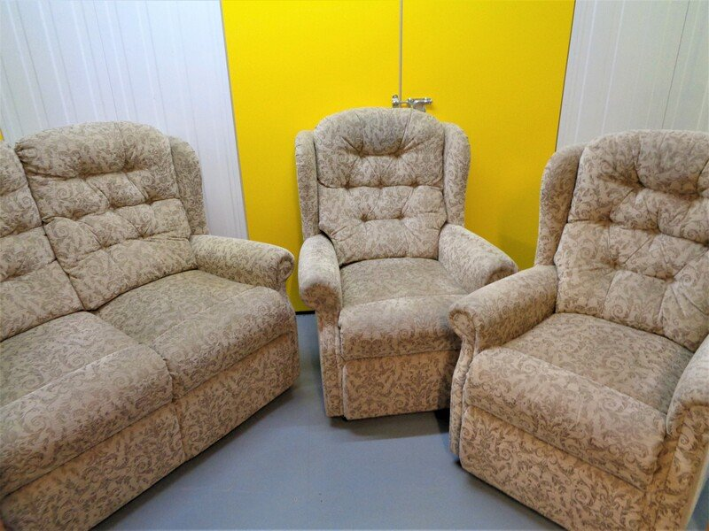 Two seater sofa and two arm chairs. Deliveries are also