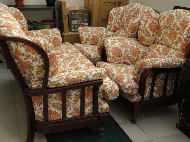wood frame sofa and arm chairs